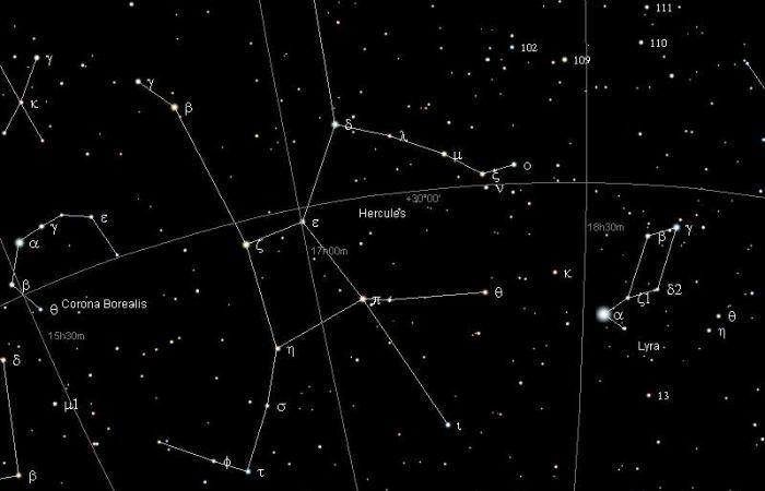 Constelación de Hércules principales estrellas