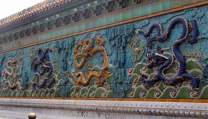 Ciudad prohibida. muro de los 9 dragones chinos